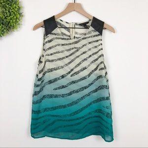 BR || Ombré Zebra Stripe Faux Leather Top M
